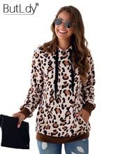 Leopard Stitching Warm Hoodies Women Hooded Print Loose Sweatshirt Autumn Winter 2019 New Style Long Sleeves