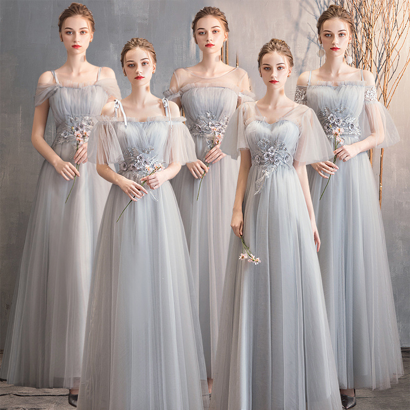 New Lace   Bridesmaid     Dresses   Chiffon Beach Garden Wedding Party Women Ladies Tulle Long Fashion Backless   Bridesmaid     Dress   Elegant