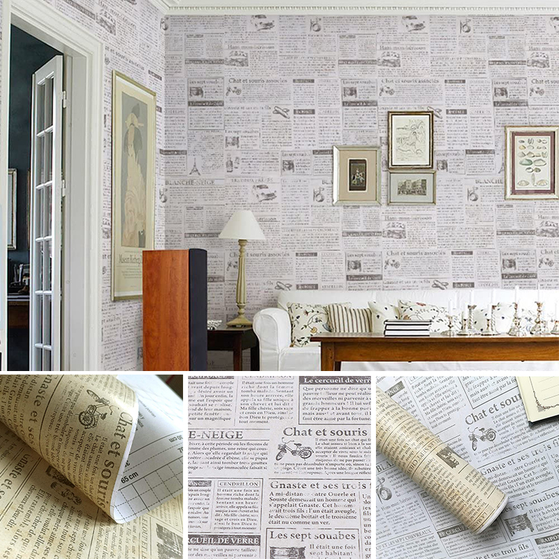Old Newspaper Self Adhesive Wallpaper For Countertops Cabinets Wall Decorative Furniture DIY Stickers 10m*45cm PVC Contact Paper