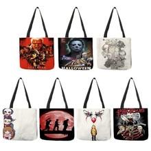 B01108 filme de terror cartaz assassinos impressão ombro bolsa feminina bolsas casuais varejista clube atacado sacos de compras reutilizáveis