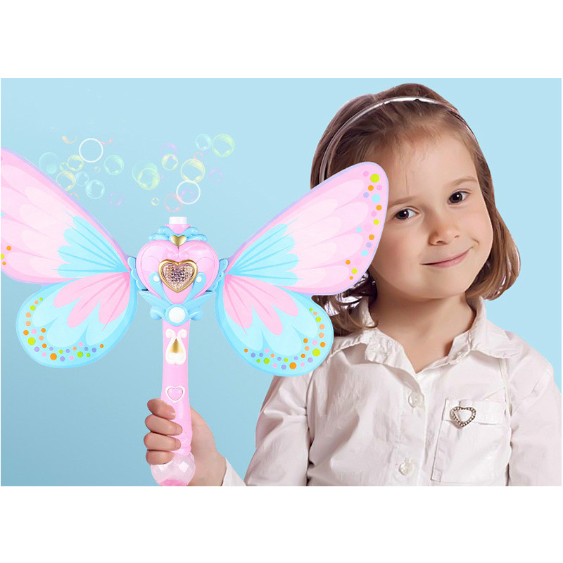 Automatic Bubble Machine Wing Wand Automatic Soap Bubble Blowing Gun Blower Machine Light Music Funny Outdoor Girls Toys For Kid