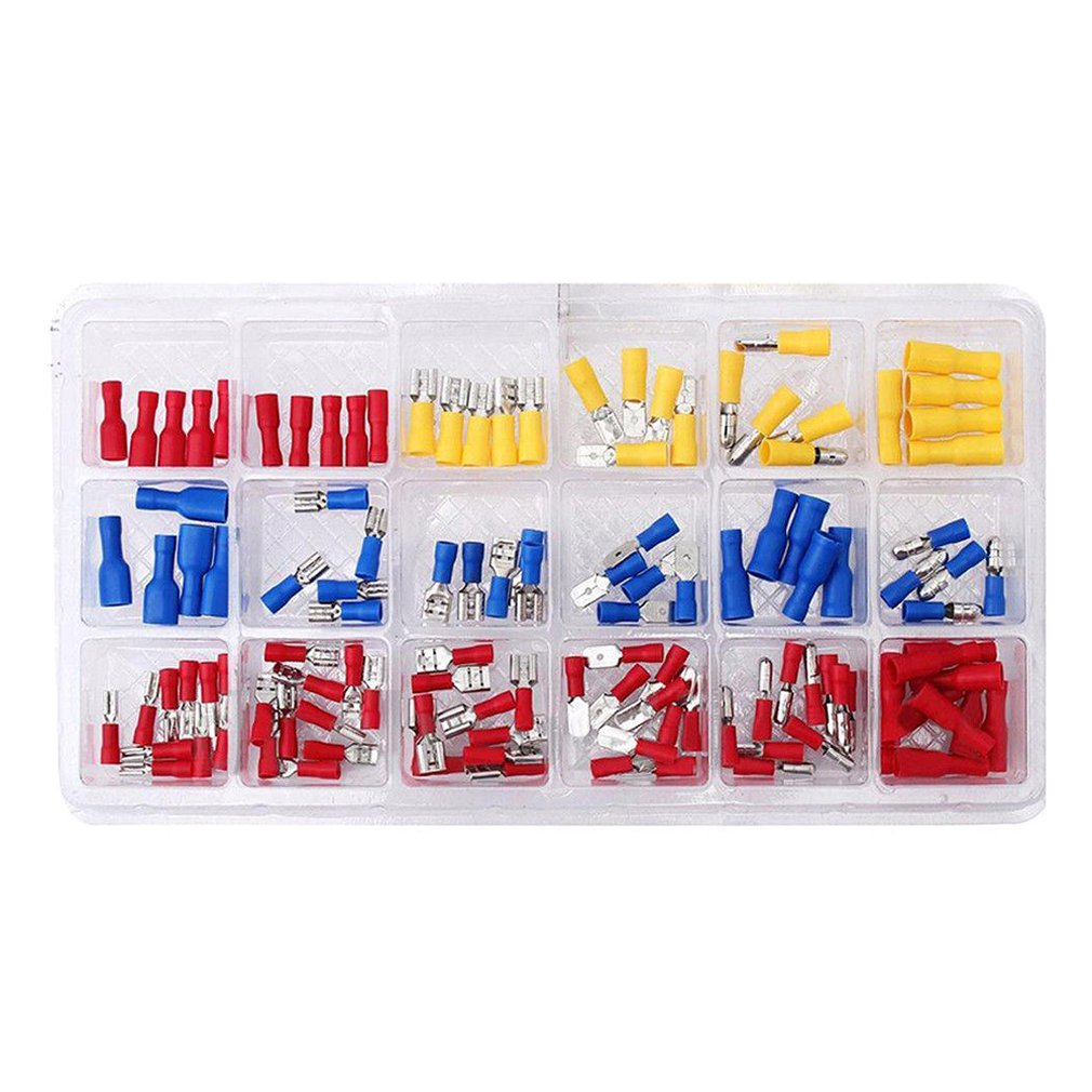 120Pcs Set Blister Cold Press Wiring Connection Terminal Set Bullet Terminal Boxed Terminal Block Set