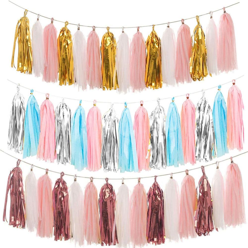 20pcs Rose Gold Iridescent DIY Tissue Paper Tassel Garlands Baby Shower Bachelorette Wedding Birthday Party Decoration Supplies