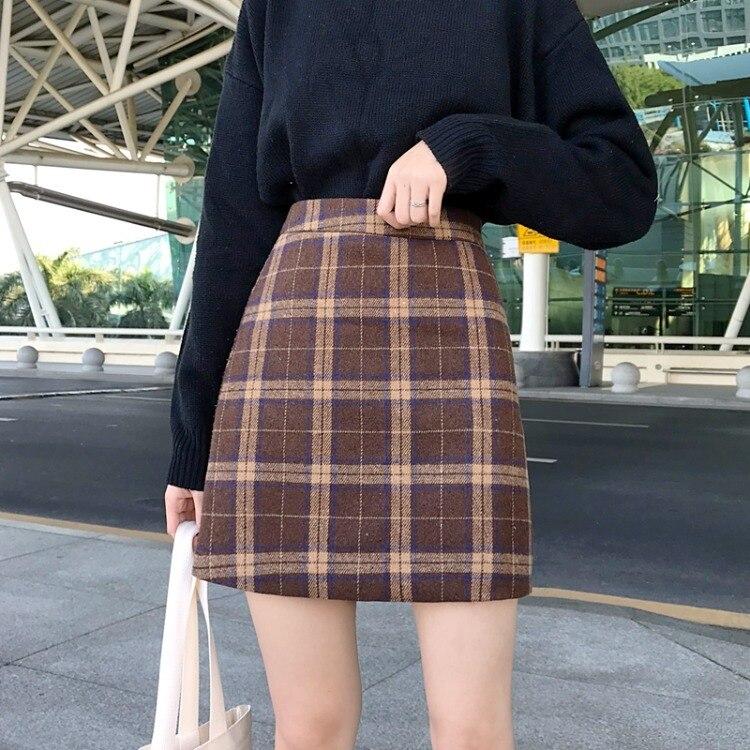 2019 New Style Retro Plaid Woolen High-waisted A- Line Short Skirt Slimming Hong Ventilation Network Red Skirt WOMEN'S Dress