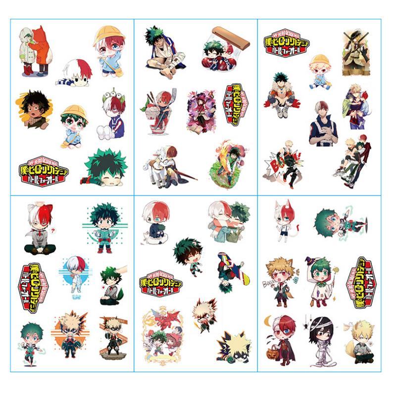 6pcs/set Hot Sale Cartoon Anime My Hero Academia Sticker Decal For Phone Car Laptop Suitcase Stickers Toys For Kids Gift