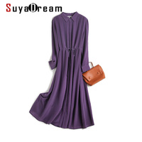 SuyaDream Woman Silk Long Dress 100%Silk Crepe Solid Long Sleeves Sashes French Shirt Dress 2020 Summer Elegant Purple Dresses