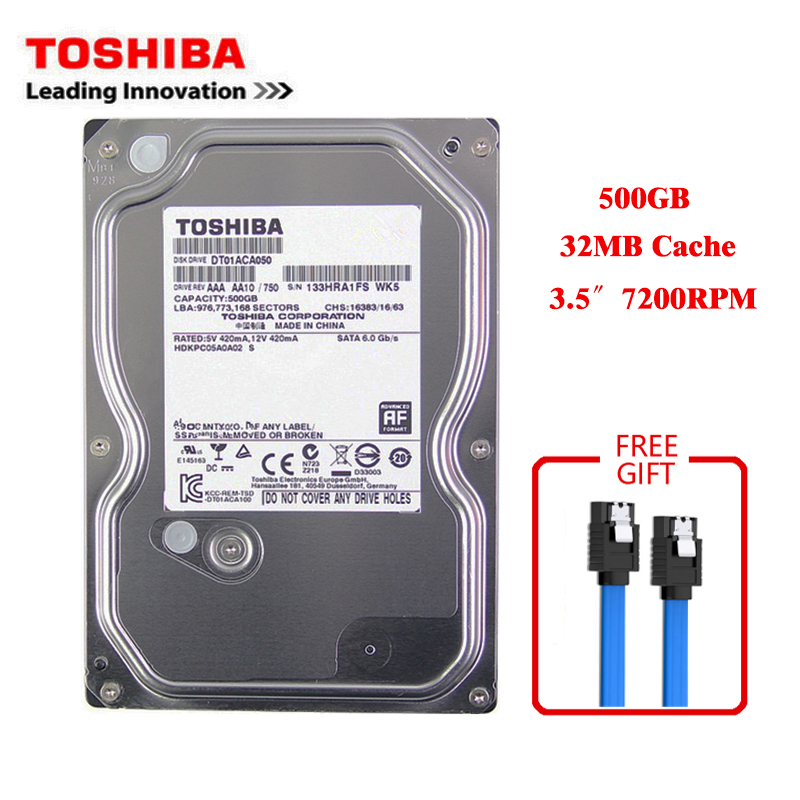 "Toshiba brand 500GB desktop computer 3.5"" internal mechanical hard disk SATA3 3-6Gb / s HDD 32MB Cache 500GB 7200RPM buffer 1"