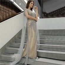 Vestidos de Noche de sirena con mangas abullonadas, vestido de noche de lujo con diamantes de imitación, cuello redondo, Dubái, 2020 Serene Hill LA70401, color gris
