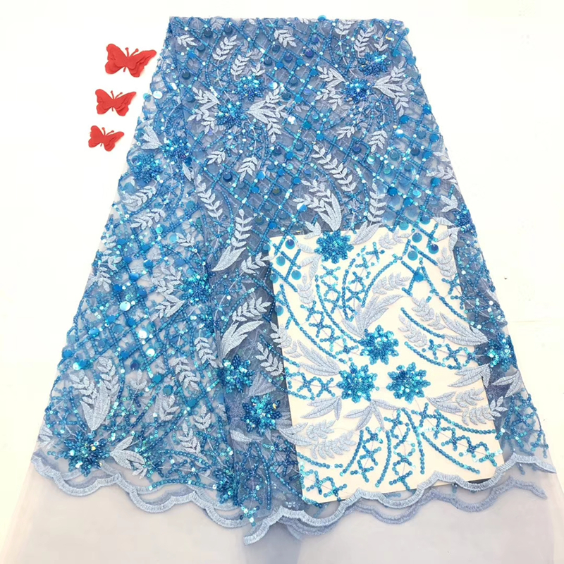 Blue African Lace Fabric 2020 Embroidered Flower French Net Lace High Quality Nigerian Sequins Bridal Lace Fabric For Sewing