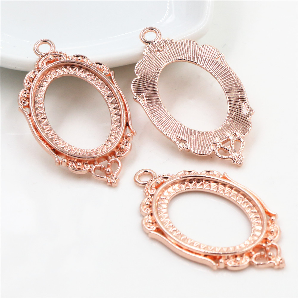 4pcs 18x25mm Inner Size Rose Gold Color Classic Style Cameo Cabochon Base Setting Charms Pendant Necklace Findings  (C1-40)