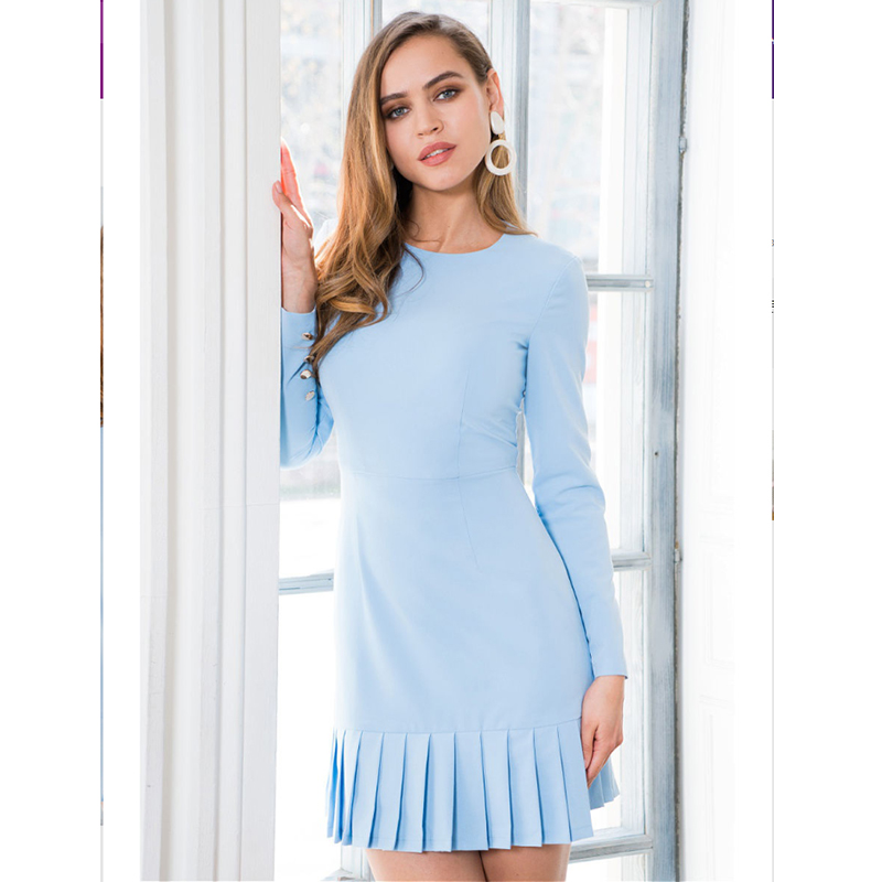 Women Casual Sheath Ruffles Dress Office Lady O Neck Long Sleeve Elegant Party Dress 2019 Autumn Fashion Women Solid Mini Dress