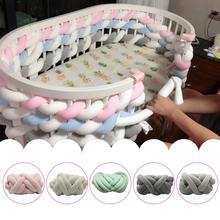 цены 3M Newborn Baby Bed Bumper Children Knotted Braided Pillow Bumper Infant Safety Crib Fence Soft Cushion Kids Room Bedding Decor