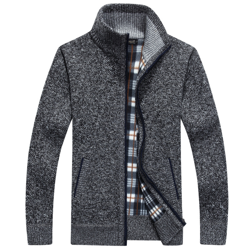 Thick Men's Knitted Sweater Coat Off White Long Sleeve Cardigan Fleece Full Zip Male Causal Plus Size Clothing For Autumn Spring 3