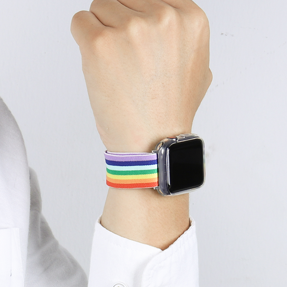 Soft and comfortable nylon Loop elastic buckle Apple watch band 38mm 42mm Series 6 SE 543 2 1 For iWatch Strap Nylon braid  44mm