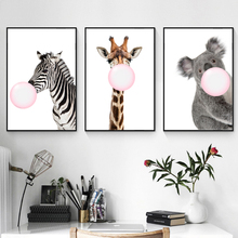 ZeroC Kawaii Bubble Painting of Giraffe Canvas Art Print Poster, Zebra Wall Picture for Living Room Decoration Koala Home decor