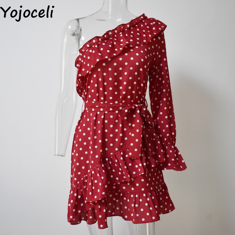 Yojoceli Elegant ruffle bow short dress women Spring one shoulder polka dot dress female Beach cute sexy dress vestidos