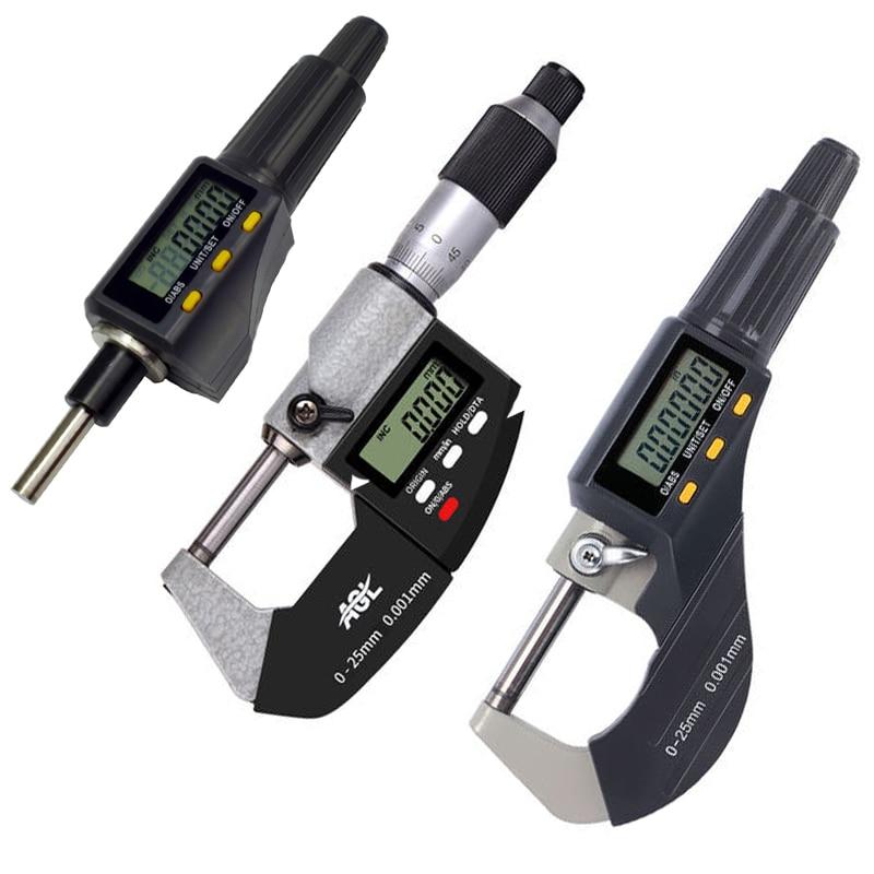 0,001 мм электронный Внешний микрометр Твердосплавные наконечники измерительные инструменты штангенциркуль Калибр 0-25 мм 1 дюйм цифровой мик...