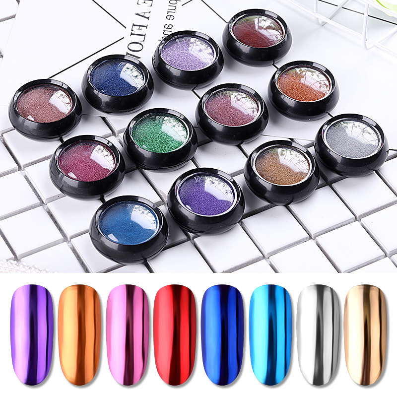 PinPai Mirror Metallic Nail Art Powder Set Glitter Chrome Rub Pigment Powder For Nail Tips Decoration Glitter Manicure Dust