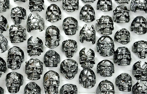 Image 5 - 30Pcs Fashion Mens Ring Skull Skeleton Gothic Biker Rings Men Ring Party Favor Wholesale Jewelry Lots Top Quality LR4107
