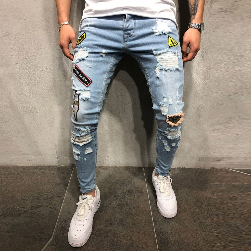 Denim Jeans Men Autumn Denim Cotton Straight Hole Pocket Trousers Distressed Jeans Pants Wholesale Free Ship джинсы Z4