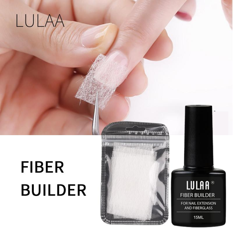 10 20pcs Nail Extension Silk Fiberglass With 15ml Nail Builder Gel Tools Set Nail Art Polish