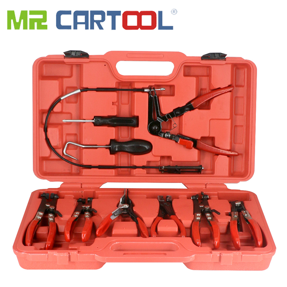 MR CARTOOL 9Pcs Hose Clamp Ring Plier Clip Kit Flexible Cable Plier Swivel Jaw Tool Car Hand-held Disassembly Special Tools