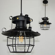 Vintage Industrial Style Metal Fishermans Cage Ceiling Pendant Light Lamp Shades American lamps-without bulb-E27 interface(China)