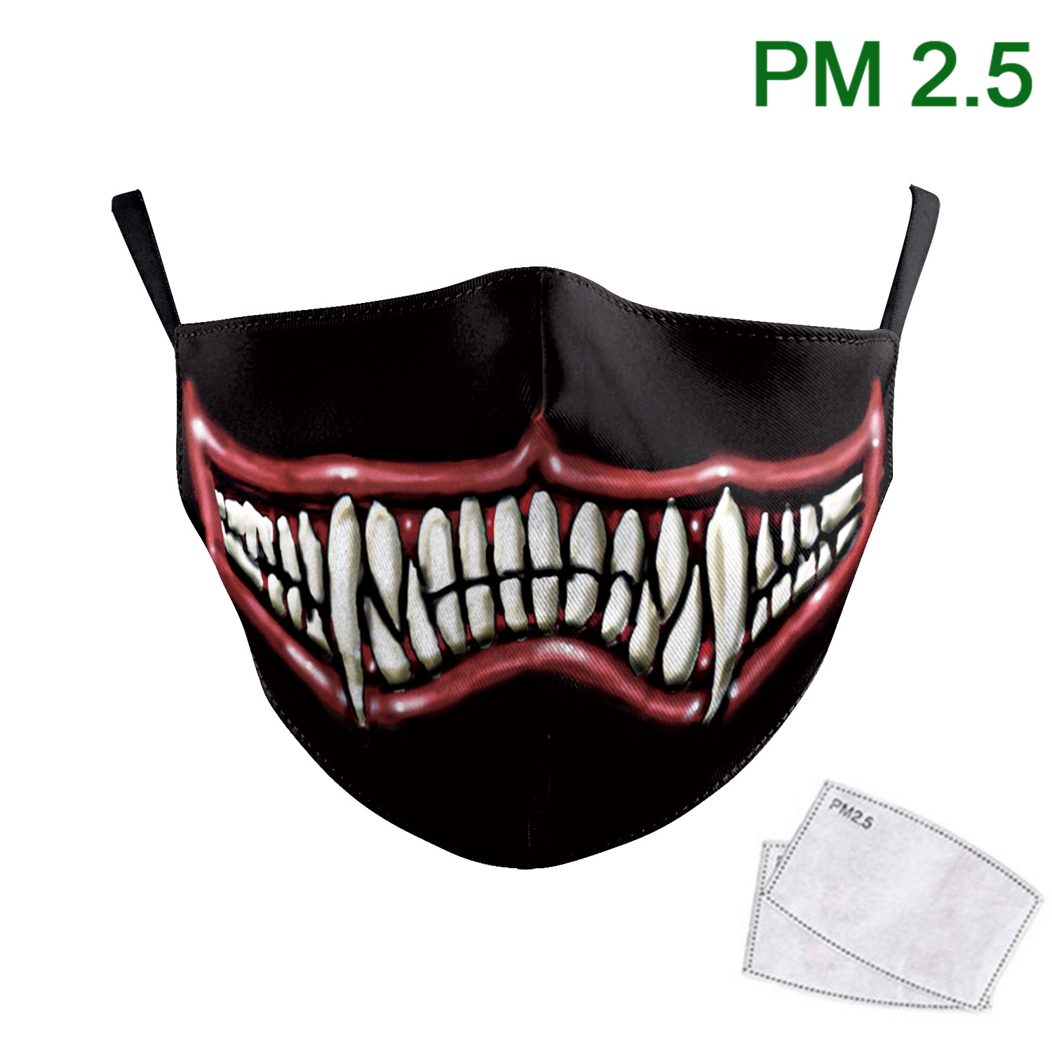 Funny Adult Washable Printed Mask Sharp Teeth Black Mask PM 2.5 Protective Dust Reusable Fabric Mouth Muffle Breathable