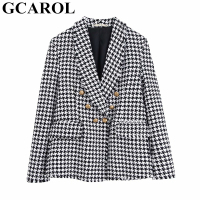 GCAROL New Women Plaid Suit Twist Tweed Notched Tassels Checked Blazer Feminino Gold Buttons Fall Winter Multi occasion Jacket