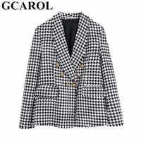 GCAROL nouveau femmes Plaid costume Twist Tweed crantée glands à carreaux Blazer Feminino or boutons automne hiver multi-occasions veste