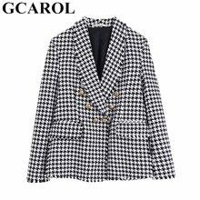GCAROL nowych kobiet garnitur w kratę Twist Tweed ząbkowane frędzle sprawdzone Blazer Feminino złote guziki jesień zima wielu okazji kurtka