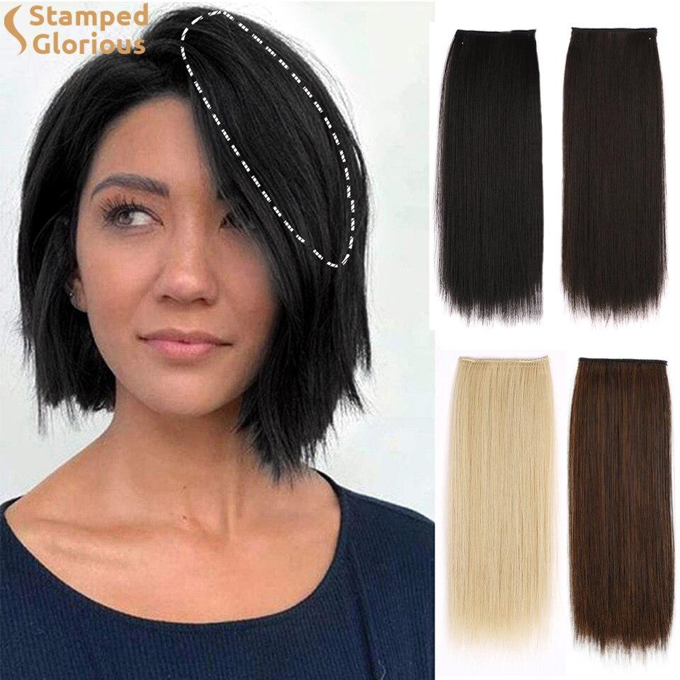 Штампованные славных из искусственных волос на клипсах из волосы короткие прямые шиньоны для Для женщин истончение волос добавляя объем во...