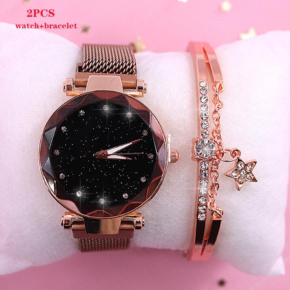 2019 nowy marka Starry Sky kobiet zegarka mody elegancki klamra magnetyczna Vibrato fioletowy złoty panie zegarek luksusowe kobiety zegarki 1