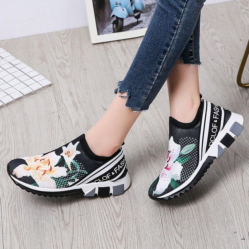 YeddaMavis Black Women Sneakers New Stretch Fabric Socks Shoes Women Vulcanize Shoes Light Soft Bottom Women Shoes Woman Shoes