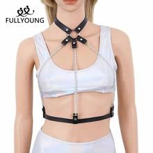 Sexy Leather Harness Underwear goth Garter Belts Lingerie Women Gothic Waist To Leg Cage Straps Bra Garters Body 6z
