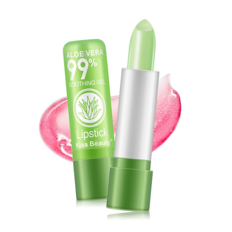 1PCS  Aloe Vera Temperature Changed Color Lipstick Natural Moisturizer Lipblam Natural Magic Pink Protector Lips Cosmetics TSLM1 5