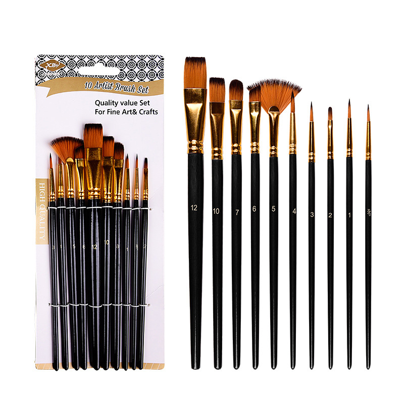 10 Pcs/Set Nylon Hair Artist Paint Brush Professional Watercolor Acrylic Wooden Handle Painting Brushes Art Supplies Stationery