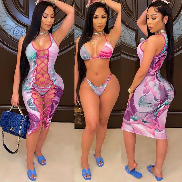 2021 Fashion Bikini Set And Matching Cover Dress Womens Sleeveless Hollow Out Laced Beach Dress 3 Pieces Outfits Beachwear S-XL 4