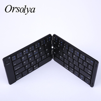 Mini Bluetooth Folding Keyboard Mit Leder Oberfläche Drahtlose Tastatur Für Laptop/Tablet/Telefon Für Android/Windows/apple