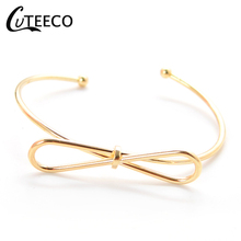 CUTEECO Open Bracelets Simple Cute Bowknot Bangle For Women Gold Cuff Bracelet Adjustable Jewelry Girlfriend Party Accessories