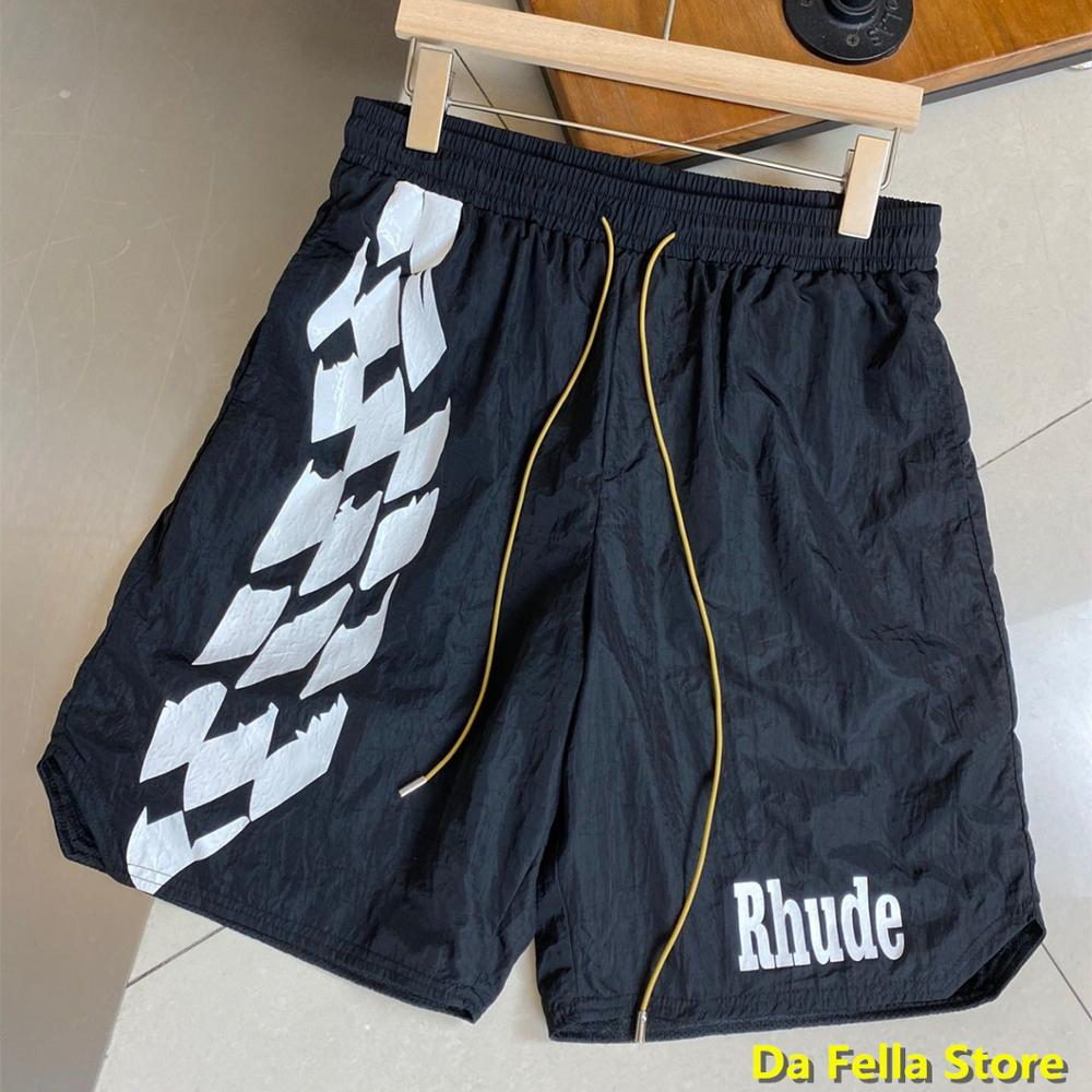 RHUDE CHECKER TRACK SHORTS 2020 Men Women RHUDE Logo Print Shorts Summer Good Quality Oversize Breechcloth Mesh Lining
