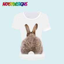 NOISYDESIGNS Bunny Cute Rabbit Tops Fashion T Shirt For Women Summer Tshirt Short Sleeved Ladies T-shirts Feminine