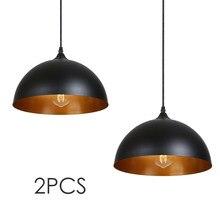 2Pcs schwarz vintage industrielle anhänger licht nordic retro lichter eisen lampenschirm anhänger lampe metall käfig esszimmer Landschaft