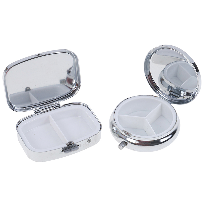 1PCS Silver Medicine Case Tablet Small Metal Round Rectangular Pill Box Container Portable Metal Holder Medicine