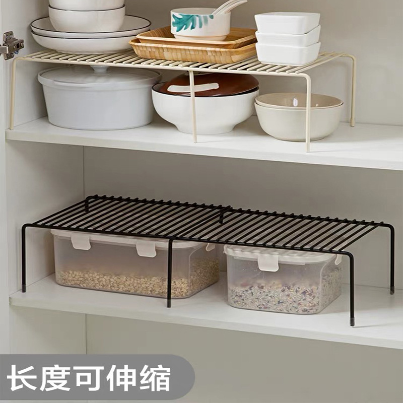 Stainless Steel Extendable Kitchen Shelf Cupboard Storage Tool Spice Rack Water Draining Storage Condiments Luo Di Jia