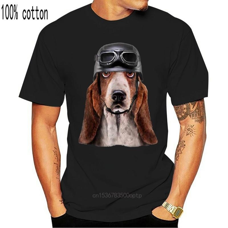 Camiseta de manga corta para hombre, camiseta con casco de motociclista, perro, sabueso, a la moda, verano, 2020