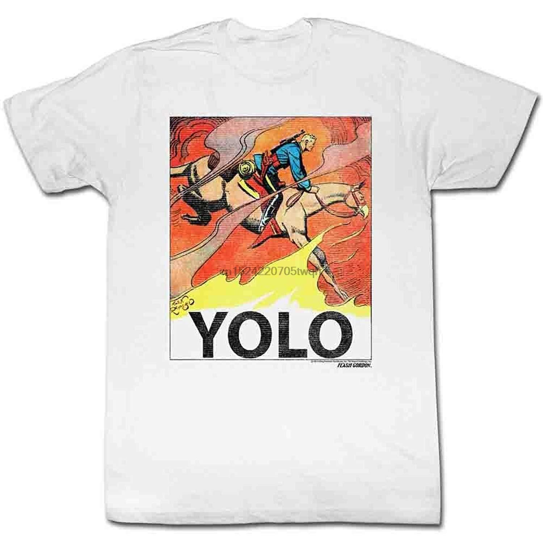Flash Gordon T-Shirt YOLO White Tee(China)