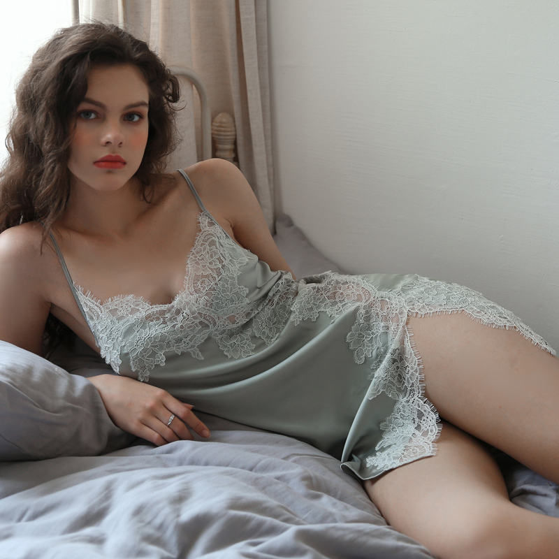 Summer Sexy Nightgown for Women Hollow Lace Seduction Ice Silk Nightwear SleepwearLingerie Slits Nightdress V neck NightieNightgowns & Sleepshirts   -