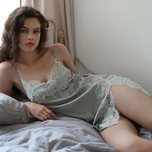 Summer Sexy Nightgown for Women Hollow Lace Seduction Ice Silk Nightwear SleepwearLingerie Slits Nightdress V neck Nightie