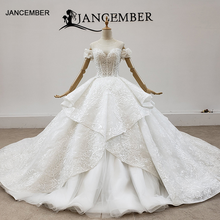 HTL1430 งานแต่งงานผ้าคลุมหน้าชุดปิดไหล่พลัสขนาดTiered Lace Appliqueเจ้าหญิงงานแต่งงานชุดกลับโบว์ Сввадебное Платье